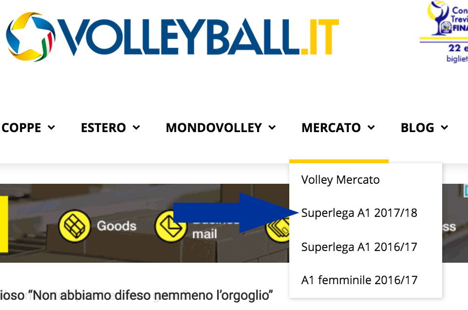 menu volley mercato